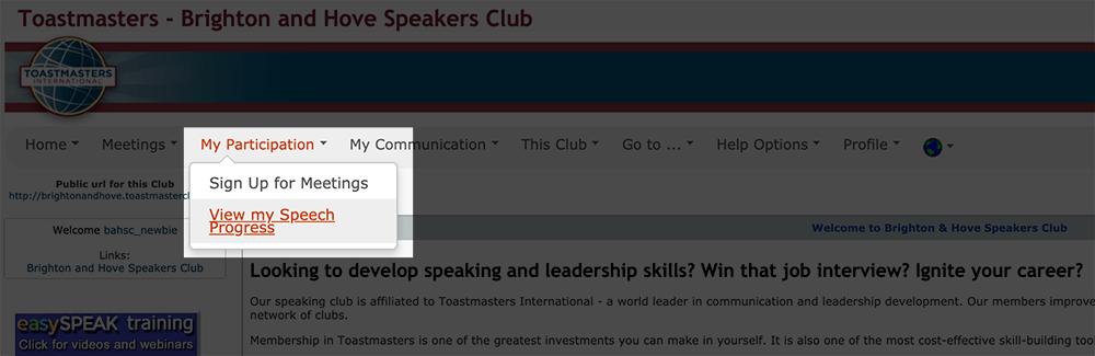 Displays the location of the speech progress menu in EasySpeak.