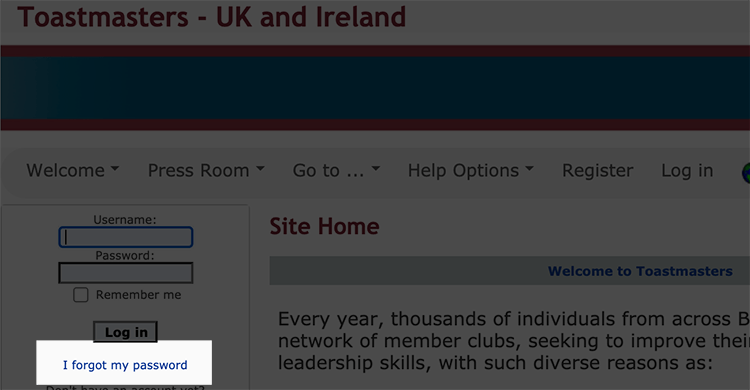 Image showing where to click if you have forgotten your password.