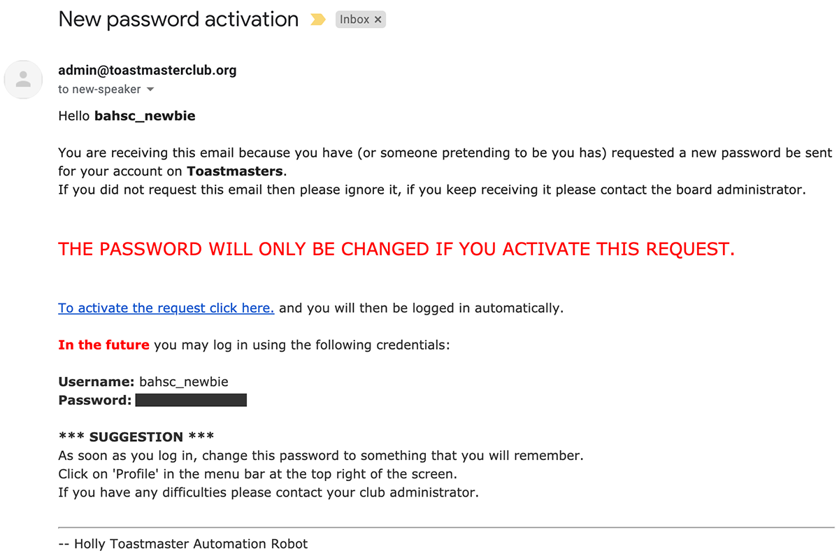 Shows and example email received on password reset